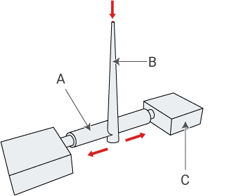 Nozzle for injecting melted material